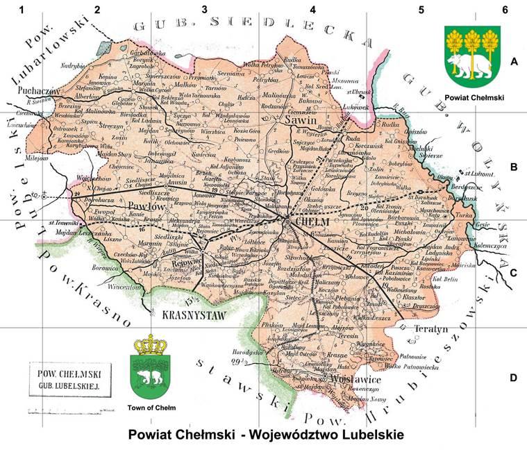 Карта Холмського повіту Люблінської губернії